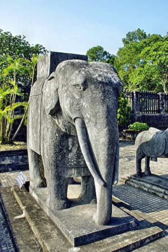 Home Comforts Peel-n-Stick Poster of Booed Elephant Statue Viet NAM Tomb Imperial Vivid Imagery Poster 24 x 16 Adhesive Sticker Poster ()