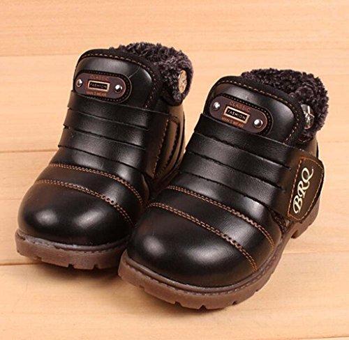 Covermason Winter Kinder Baby Jungen Mädchen Stiefel Schneestiefel Warm Leder Schuhe Schwarz