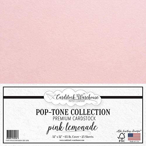 Pink Lemonade Cardstock Paper - 12 x 12 inch 65 lb. Premium Cover - 25 Sheets from Cardstock Warehouse