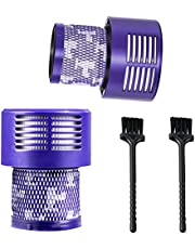 Dyson V10 Filter (2Pack ), 4 Washable Vacuum Filter Replacement (With 2 Pcs Cleaning brush) for Dyson V10 Cyclone Series, V10 Absolute, V10 Animal, V10 Total Clean, SV12, Replace Parts # 969082-01