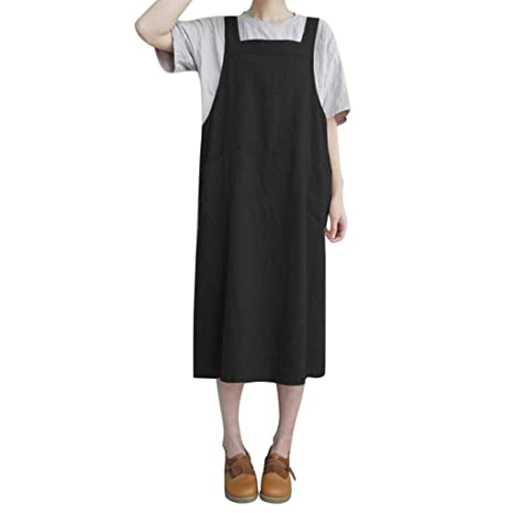 9dc15d613ce SMILEQ Dress Women Casual Sleeveless Straps Skirt Pinafore Sundress Ladies  Loose Shirt Dress (Black