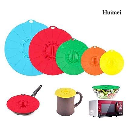 Pack de 5 Tapa de Silicona Succión para Guardar Alimentos Apto para Microondas Ecológico - Multi