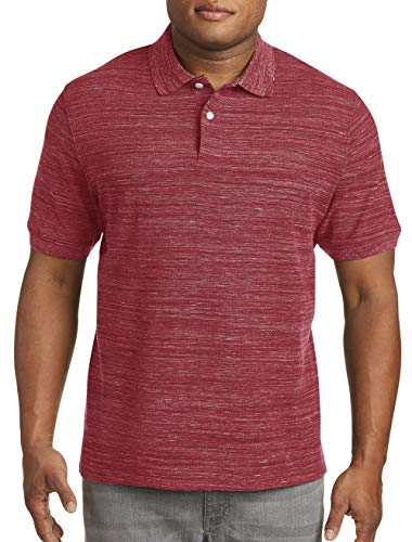 - Harbor Bay by DXL Big and Tall Space-Dye Piqué Polo Shirt, Red, 2XL
