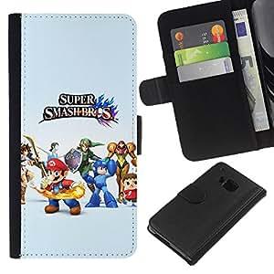 // PHONE CASE GIFT // Moda Estuche Funda de Cuero Billetera Tarjeta de crédito dinero bolsa Cubierta de proteccion Caso HTC One M7 / Super Smash Brothers /