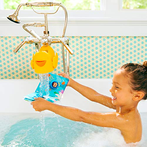 """51RBHhrnuJL Munchkin Bubble Beak Bath Spout Cover Safety Guard, Yellow    """"Ouchie."""" is every parent's least favorite word when bathing their child. Protect your little one from bath time bumps and burns with this snug-fitting spout guard. With an adjustable strap, this spout guard fits to most faucets and protects your little one's head from bumps or burns. And when you need to turn the showerhead on, you don't have to remove Beak. The open-top design gives you access to the diverter at all times. There's even a bubble bath dispenser for sudsy fun. So if you want to ensure your little one's safety and let the good times flow, Beak is sure to fit the bill."""
