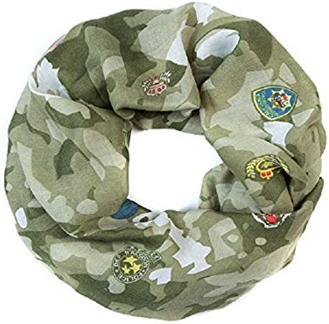 Mujer Bufanda En Bucle Pañuelo Camuflaje Militar Parches Look