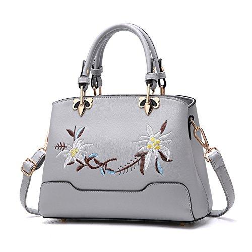 Mode à Body En Messenger Cuir Cross Bag PU Sacs Sacs Ladies Gray Trend Main Brodéépaule KYOKIM qSxOz5w