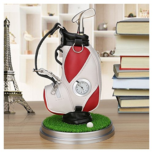 Golf Cart Clock (Mini desktop golf bag pen holder with golf pens clock 6-piece set of golf souvenir Tour souvenir novelty gift (red and white))