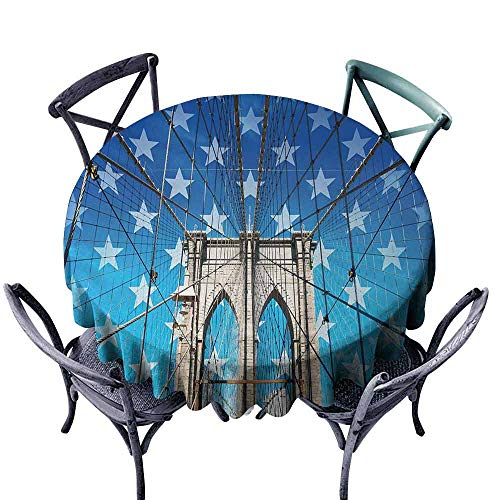 HCCJLCKS Stain-Resistant Tablecloth New York NYC Bridge with Stars Home to The Empire States Building Times Square Other Sites Party D71 Blue Grey