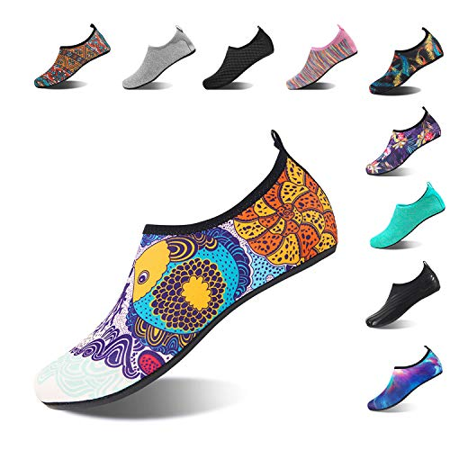 HMIYA Aqua Socks Beach Water Shoes Barefoot Yoga Socks Quick-Dry Surf Swim Shoes for Women Men (Fish, 40/41EU) ()