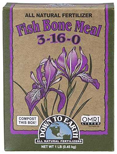 Down to Earth Organic Fish Bone Meal Fertilizer Mix 3-16-0, 1 lb