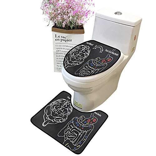 2 Piece Bathroom Rug Set Moo Gut Bacteria Non Slip Soft Bath Shower Toilet lid Combo