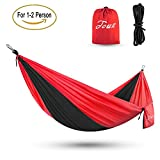 Touz Double (2-Person) Parachute Lightweight Portable Nylon Fabric Travel Camping Hiking Hammock(Black/Red)