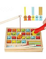 لعبة صيد خشبية مغناطيسية للاطفال الصغار، العاب لوح عد وصيد الاسماك على شكل الحروف الابجدية مع ارقام وحروف فيبي