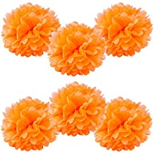 """WYZworks Set of 6 - ORANGE 12"""" - (6 Pack) Tissue Pom Poms Flower Party Decorations for Weddings, Birthday, Bridal, Baby Showers, Nursery, Décor"""