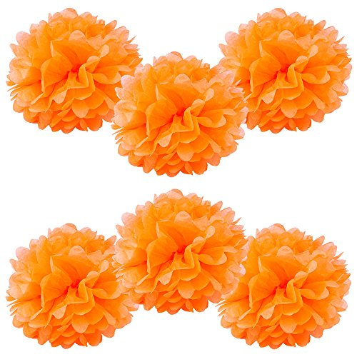 """WYZworks Set of 6 - ORANGE 14"""" - (6 Pack) Tissue Pom Poms Flower Party Decorations for Weddings, Birthday, Bridal, Baby Showers, Nursery, Décor"""