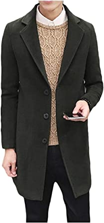 Comaba Mens Wollen Large Size Notched Lapel Windbreaker Pea Coat