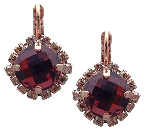 Mariana Crème Brûlée Swarovski Crystal Rose Goldtone Earrings Checkerboard Cut Burgundy
