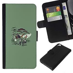 HTC Desire 820 - Dibujo PU billetera de cuero Funda Case Caso de la piel de la bolsa protectora Para (Vampire Zombie Attack)