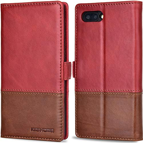 BlackBerry KEY2 Case, KEZiHOME Color Matching Genuine Leather Wallet Case with Kickstand and Multiple Card Slots Protective Cover for BlackBerry KEY2 (Red/Brown2)