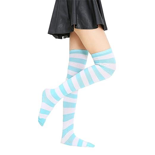 bdc3f9e8413 Womens Striped Thigh High Over Knee Stocking Socks (Blue white Wide  Stripe)YSW02F