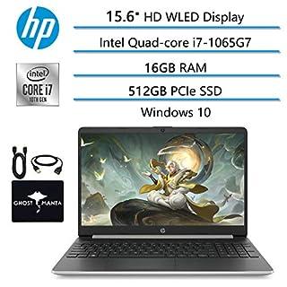 """2020 Newest HP Laptop 15.6"""" HD WLED Computer, Intel Quad-core i7-1065G7(Beat i7-10510U), 16GB RAM, 512GB PCIe SSD, Intel Iris Plus Graphics, Webcam, USB Type-A&C, HDMI, WiFi, Win10, w/GM Accessories"""