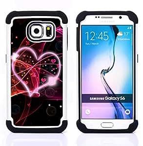 GIFT CHOICE / Defensor Cubierta de protección completa Flexible TPU Silicona + Duro PC Estuche protector Cáscara Funda Caso / Combo Case for Samsung Galaxy S6 SM-G920 // Love Pink //