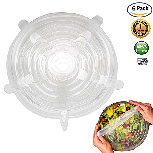 White Silicone Stretch Lids Reusable Food Saver Covers Durable and Expandable Set of 6 Cap lids - Superior for Keeping Food Fresh - Dishwasher, Microwave, Oven and Freezer Safe