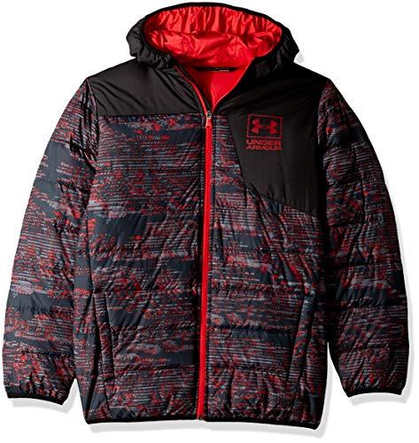 Under Armour Boys' Big Print Swarmdown Hooded Jacket, Black, Medium (10/12)