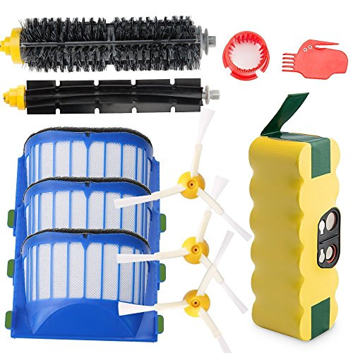 efluky 3500mAh Ni-MH Replacement Roomba Battery + Replacement Accessory Part Kit for iRobot Roomba 600 Series 600 610 614 620 625 630 635 640 645 650 655 660 665 670 680 690 - a set of 11 (650 Series Battery)