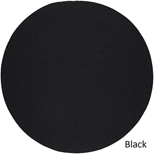 Rhody Rug Woolux Wool Braided Rug - 4' Round Black