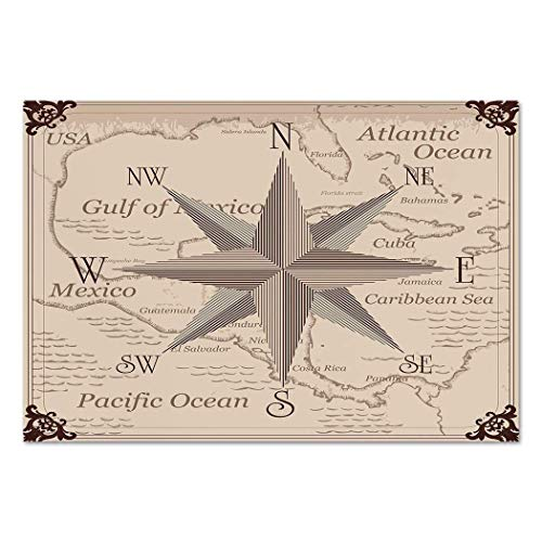 (Funky Wall Mural Sticker [ Compass,Central American Map Caribbeans Background Windrose Design Gulf of Mexico Cuba Decorative,Lilac Plum ] Self-adhesive Vinyl Wallpaper / Removable Modern Decorating)