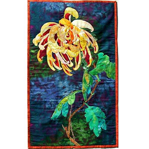 Original Textile Wall-hanging Art Quilt, OOAK Tapestry, Chrysanthemum, Feng Shui Decor New Home Gift