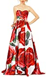 DarlingU Women's Sweetheart Floral Print Prom Homecoming Dresses Long 2018 Formal Gowns Red Size 18W