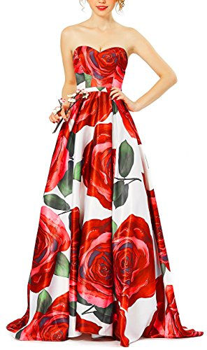 Standard Floor Monitor (DarlingU Women's A-line Sweetheart Long Prom Evening Dresses Floral Printed Party Gowns Formal 2018 Red 18W)
