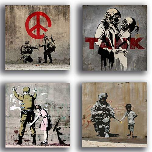 Cuadros modernos estilo Banksy murales Street Art Pace Guerra Soldado 4 piezas 30 x 30 cm Impresion sobre lienzo Decoracion Arte Abstracto XXL Decoracion Salon Dormitorio Cocina Oficina Bar