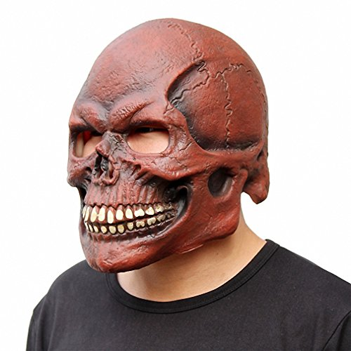 [Scary Skull Mask Full Head Realistic Latex Party Mask Horror Halloween Mask Cosplay Toy Props Red] (White & Red Clown Half Mask)