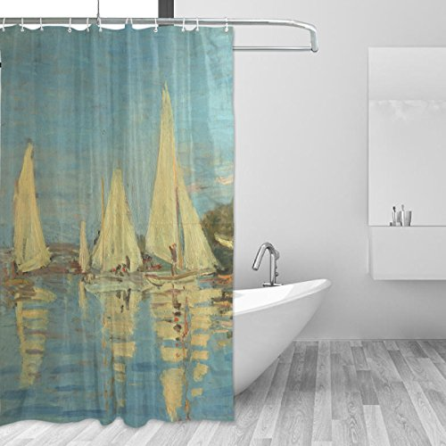 WIHVE Shower Curtain Custom Fabric Set 60x72 inch Claude Monet French Sailboat Ocean Beach Waterproof Polyester Curtain for Bathroom Decorative Shower Curtain with 12 Plastic Hooks