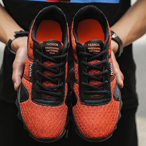 Hunputa Mens Moda Sneakers Casual Scarpe Da Ginnastica Traspiranti Lace-up Da Corsa Scarpe Da Corsa Scarpa Da Basket Arancione
