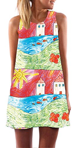 Stampato Pattern30 Perdere end Una Breve Dress Linea donne Maniche Cocktail Girocollo Week Coolred 7qBTxtA