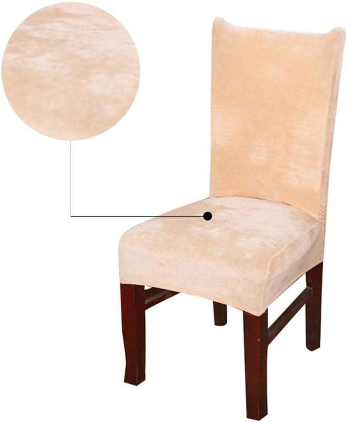 HoneybeeLY Housse de Chaise Stretch Velvet Couvre-Chaises de Couleur Unie Hiver
