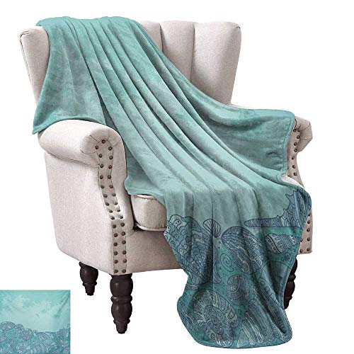 Anyangeight Throw Blanket,Marine Beauty Shell with Seahorse Starfish Oysters Ocean Sea Tropical Image 60