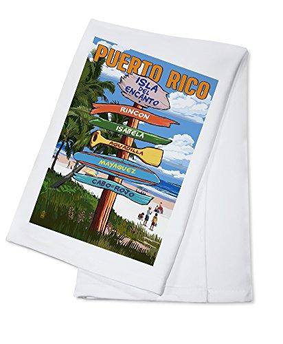 Isla del Encanto, Puerto Rico - Destinations Sign - Tropical Coast Scene (100% Cotton Kitchen Towel)