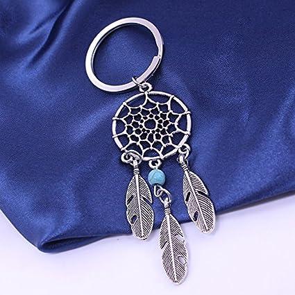 ,Avec un sac /à bijoux Bleu AIUIN Porte-cl/és D/écor Pendentif Sac /à main Dream catcher creux maille turquoise feuille pendentif Pour porte-cl/és Cr/éatif Cadeau Accessoires D/écoration