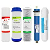 HiKiNS Reverse Osmosis Replacement Filter Set (PP Sediment,GAC,CTO,T33 Post Carbon 125GPD Ro Membrane) Universal 5-stage under sink Water filtration Systems(5-Pack)