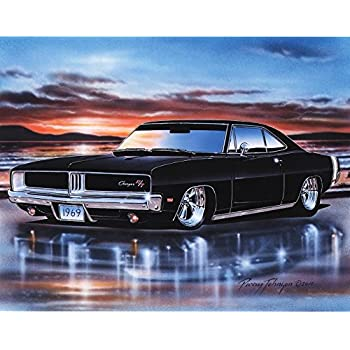 Amazon Com 1969 Dodge Charger Rt Muscle Car Art Print Black 11x14