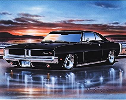 1969 Dodge Charger RT Muscle Car Art Print Black 11x14 Poster