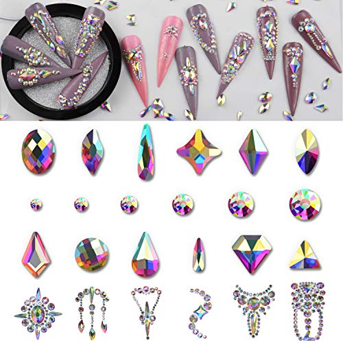 Warmfits AB Crystal Rhinestones Set, 1840pcs Rhinestones Nail Art Set Nail Gems Iridescent Clear Class Multi-Shape Flat Back Shiny Nail Jewels for Nail Art DIY Crafts Phones Clothes Shoes Jewelry Bag
