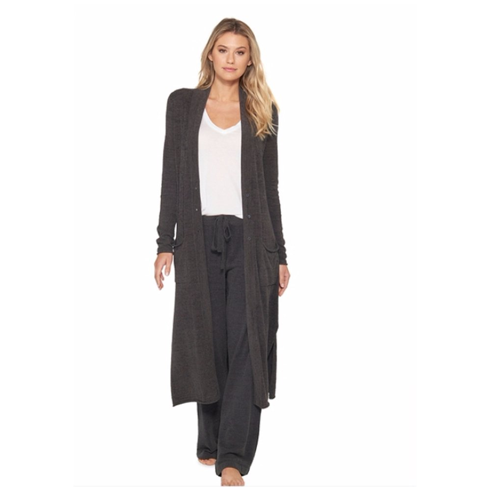 Barefoot Dreams CozyChic Ultra Lite Women's Duster, Long Sleeve, Open Front Long Maxi Cardigan Duster With Two Pockets-Carbon