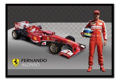Ferrari Alonso & F1 Car Poster Black Framed & Satin Matt Laminated cms Approx